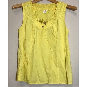 Edme & Esyllte Yellow Sleeveless Ruffle cotton top